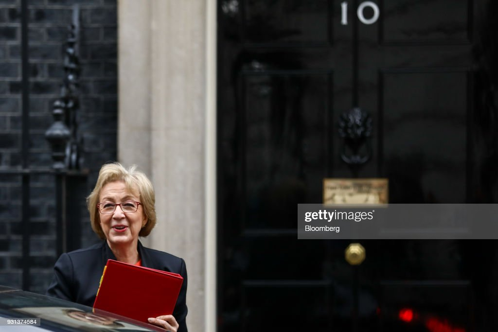 Andrea Leadsom, U.K. leader of the House of Commons, arrives for a weekly meeting of cabinet ministers at number 10 Downing Street in London, U.K., on Tuesday, March 13, 2018. U.K. Prime Minister Theresa May publicly accused Russia of a chemical weapon attack on British soil and warned of retaliatory measures that will further strain relations between the West and the Kremlin. Photographer: Simon Dawson/Bloomberg via Getty Images