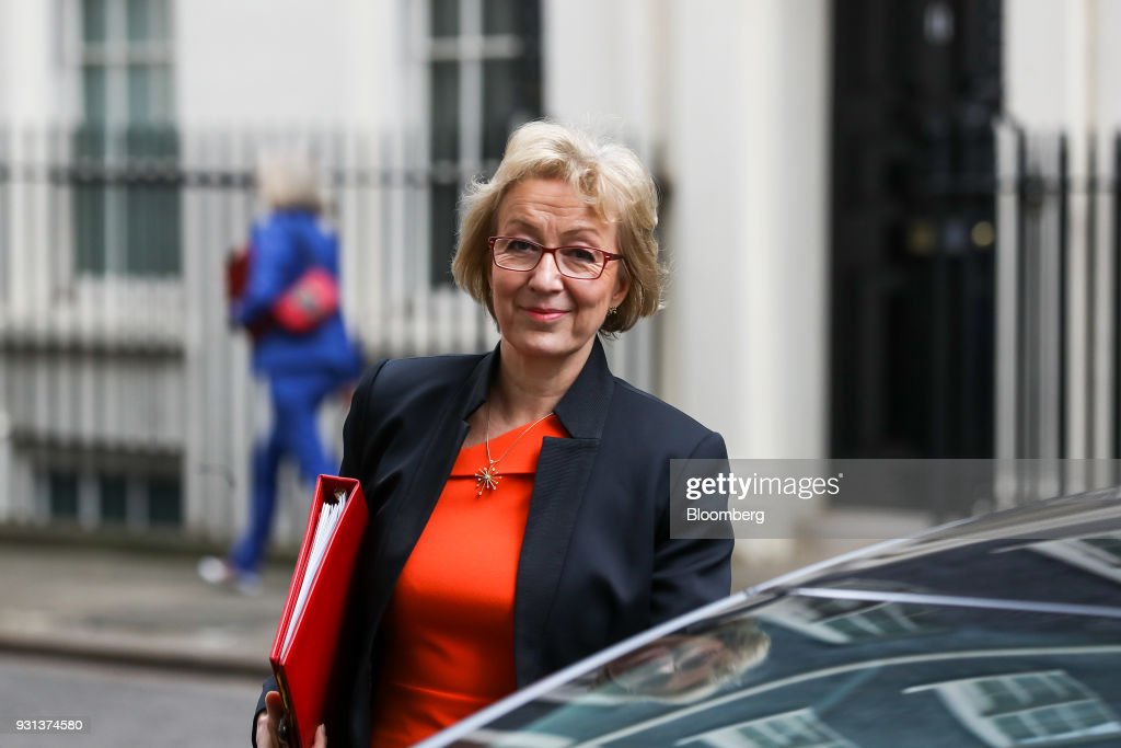Andrea Leadsom, U.K. leader of the House of Commons, leaves following a weekly meeting of cabinet ministers at number 10 Downing Street in London, U.K., on Tuesday, March 13, 2018. U.K. Prime Minister Theresa May publicly accused Russia of a chemical weapon attack on British soil and warned of retaliatory measures that will further strain relations between the West and the Kremlin. Photographer: Simon Dawson/Bloomberg via Getty Images