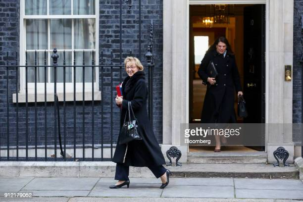 Andrea Leadsom UK leader of the House of Commons left and Claire Perry UK business minister leave following a weekly meeting of cabinet ministers at...
