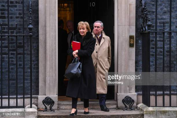 Andrea Leadsom UK leader of the House of Commons left and Geoffrey Cox UK attorney general depart number 10 Downing Street following a weekly meeting...