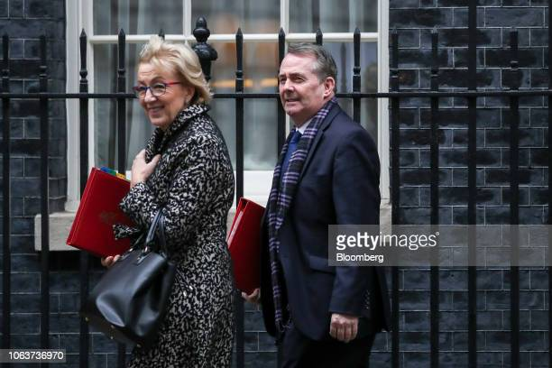 Andrea Leadsom UK leader of the House of Commons left and Liam Fox UK international trade secretary leave after the weekly meeting of cabinet...