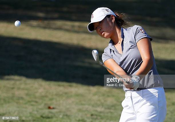 Andrea Lee of Stanford chips on the first hole during day 1 of the 2016 East Lake Cup at East Lake Golf Club on October 31 2016 in Atlanta Georgia