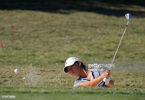 Andrea Lee of Stanford hits a shot out of the trap on the first hole during day 1 of the 2016 East Lake Cup at East Lake Golf Club on October 31 2016...