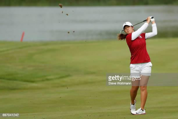 Andrea Lee of Stanford in action during the Division I Women's Golf Individual Championship held at Rich Harvest Farms on May 22 2017 in Sugar Grove...