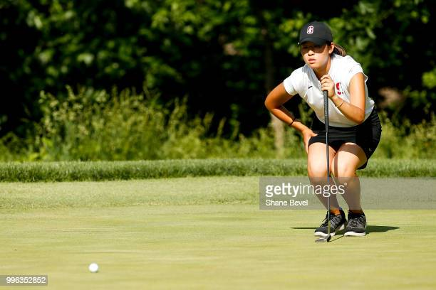 Andrea Lee of Stanford lines a putt during the Division I Women's Golf Individual Championship held at the Karsten Creek Golf Club on May 21 2018 in...
