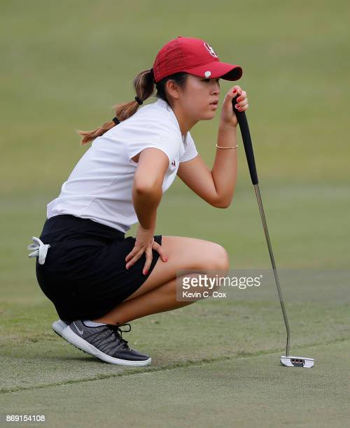 Andrea Lee of the Stanford Cardinal lines up her putt on the seventh green during day three of the 2017 East Lake Cup at East Lake Golf Club on...