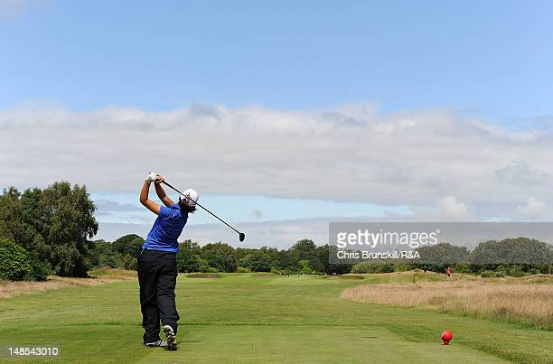 Andrea Lee of USA tees off during the Junior Open Championship at Fairhaven Golf Club on July 18 2012 in Lytham St Annes England
