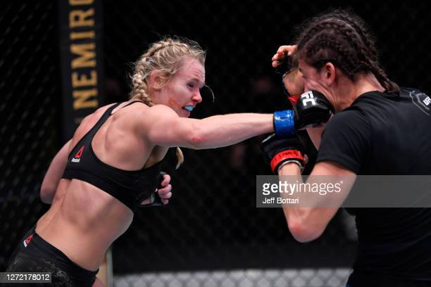Andrea Lee punches Roxanne Modafferi in a flyweight fight during the UFC Fight Night event at UFC APEX on September 12, 2020 in Las Vegas, Nevada.