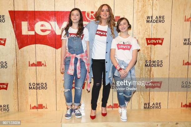 Andrea Legarreta and her daughters attend the Levi's Flagship Madero store opening at historical center streets on March 22 2018 in Mexico City Mexico