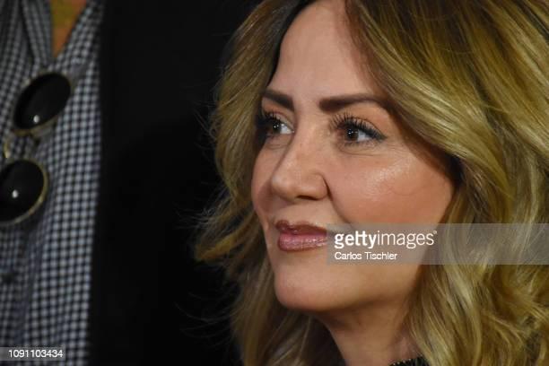 Andrea Legarreta gestures during the filming of the movie 'Mama se fue de viaje' at Circulo Cubano de Mexico on January 7 2019 in Mexico City Mexico