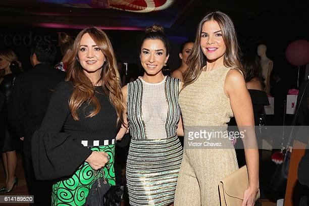 Andrea Legarreta Laura G and Vielka Valenzuela attend the second day of MercedesBenz Fashion Week Mexico Spring/Summer 2017 at Maria Isabel Sheraton...