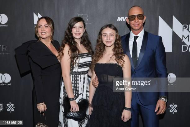 Andrea Legarreta Mia Rubin Legarreta Nina Rubin Legarreta and Erik Rubin attend the Premios Metropolitanos de Teatro 2019 at Plaza Carso on August 21...