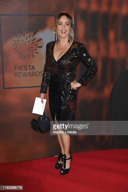 Andrea Legarreta poses for photos on the red carpet for the 'Jesucristo Superestrella' premiere at Centro Cultural 1 on July 17 2019 in Mexico City...