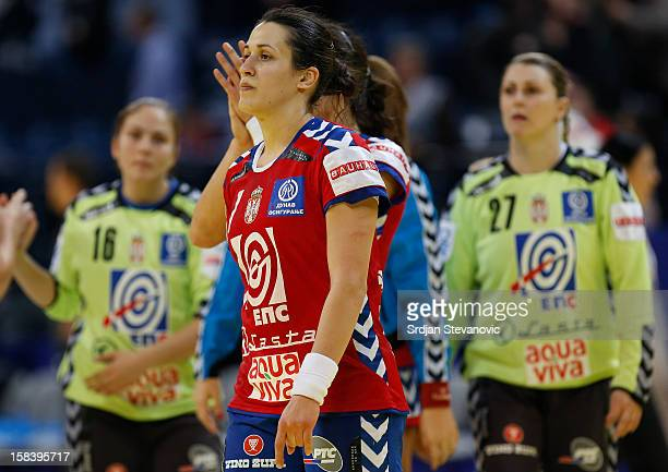Andrea Lekic looks dejected after Serbia lost the match against Montenegro the Women's European Handball Championship 2012 semifinal match between...