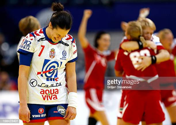 Andrea Lekic of Serbia looks dejected after the Women's European Handball Championship 2012 third place match between Hungary and Serbia at Arena...