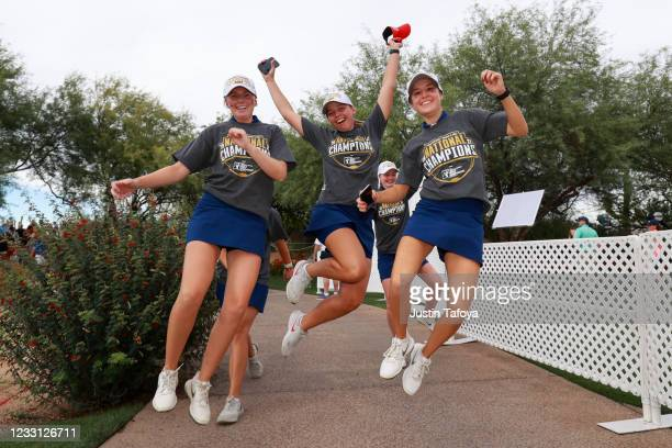 Andrea Lignell, Ellen Hutchinson-Kay and Chiara Tamburlini of the Ole Miss Rebels celebrate after winning the Division I Womens Golf Championship...