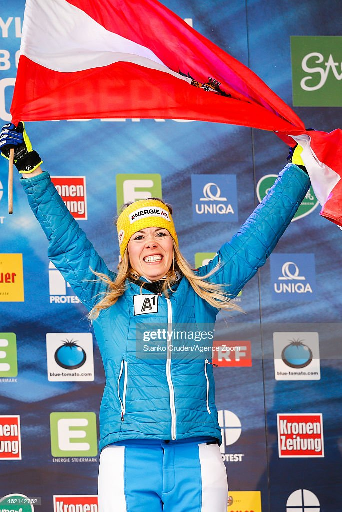Andrea Limbacher of Austria takes 1st place during the FIS Freestyle Ski World Championships Men's and Women's Ski Cross on January 25, 2015 in Kreischberg, Austria.