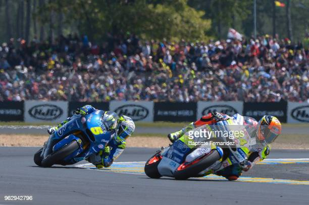 Andrea Locatelli of Italtrans Racing Team and Simone Corsi of Tasca Racing Scuderia Moto2 during the Moto 2 Grand Prix de France at Circuit Bugatti...