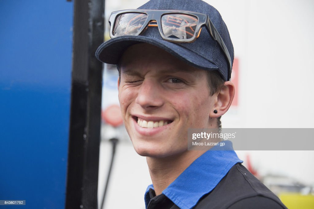 Andrea Locatelli of Italy and Italtrans Racing Team smiles in paddock before the press conference pre-event during the MotoGP of San Marino - Previews at Misano World Circuit on September 7, 2017 in Misano Adriatico, Italy.