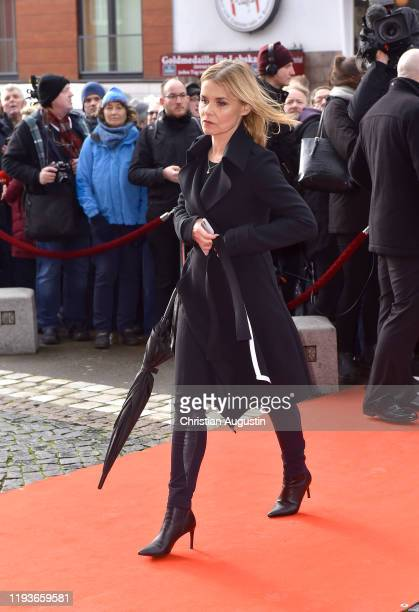 Andrea Luedke during the memorial service for Jan Fedder at Hamburger Michel on January 14 2020 in Hamburg Germany German actor Jan Fedder was...