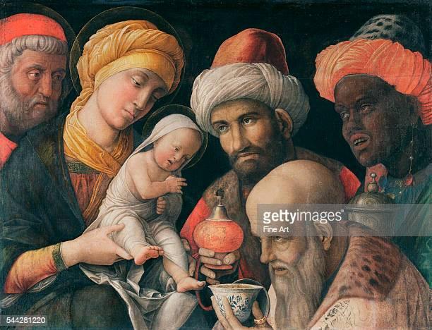 Andrea Mantegna Adoration of the Magi c 14951505 tempera on linen 486 x 656 cm The J Paul Getty Museum Malibu California