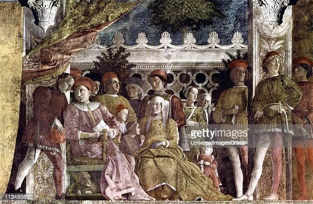 Andrea Mantegna Italian Renaissance painter ' The Court of Mantua' 147174 Fresco Camera degli Sposi Ducal Palace Mantua Italy At the left Ludovico II...