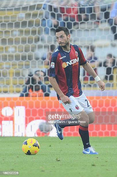 Andrea Mantovani of Bologna FC in action during the Serie A match between Bologna FC and AS Livorno Calcio at Stadio Renato Dall'Ara on October 27...