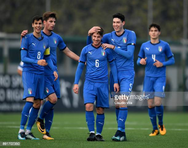 Andrea Marcucci of Italy celebrates after scoring the opening goal during the international friendly match between Italy U19 and Finland U19 on...