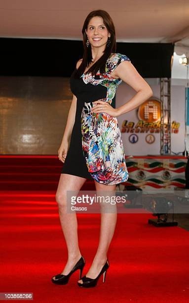 Andrea Marti poses at the red carpet of Academia Bicentenario on September 5 2010 in Mexico City Mexico