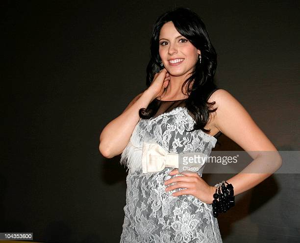 Andrea Marti poses during the presentation of the first chapter of Profulgas del Destino soap opera at Ambrosia Restaurant on September 20 2010 in...