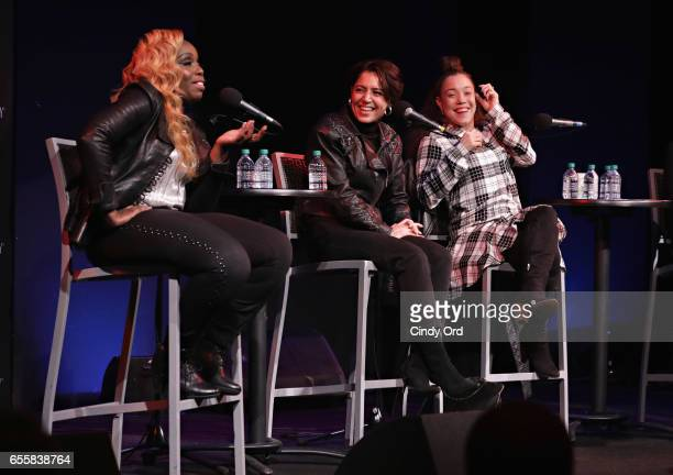 Andrea Martin Emily King and Kendra Foster speak during the GRAMMY Pro Songwriters Summit Women Making Music at The Apollo Theater on March 20 2017...