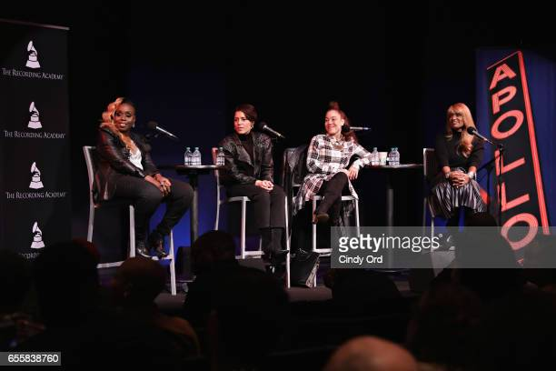 Andrea Martin Emily King Kendra Foster and Tracey J Jordan speak during the GRAMMY Pro Songwriters Summit Women Making Music at The Apollo Theater on...