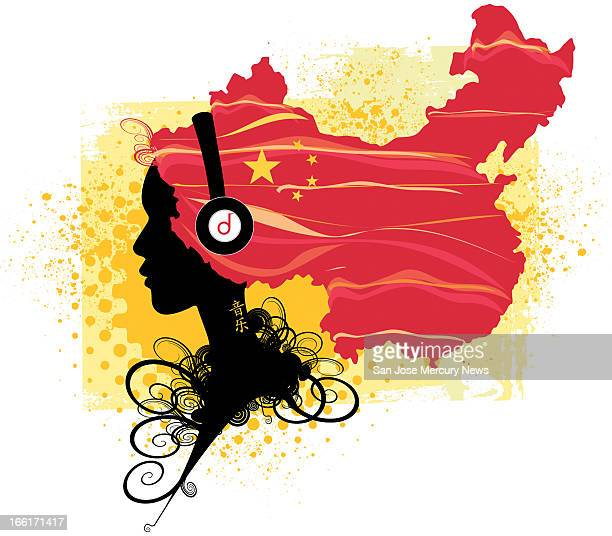 Andrea Maschietto and Chris Strach color illustration of a silhouetted woman wearing earphones whose hair flows out to form a map of China can be...