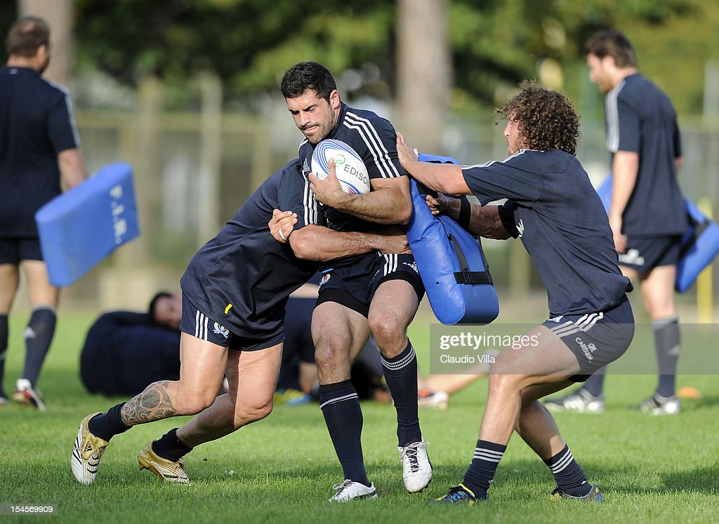 Andrea Masi of Italy (C) during a training session on October 22, 2012 in Rome, Italy.