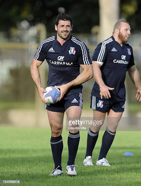 Andrea Masi of Italy during a training session on October 22 2012 in Rome Italy