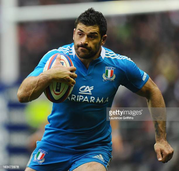 Andrea Masi of Italy in action during the RBS Six Nations match England and Italy at Twickenham Stadium on March 10 2013 in London England
