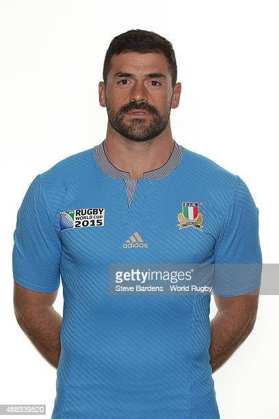 Andrea Masi of Italy poses during the Italy Rugby World Cup 2015 squad photo call at the Radisson Blu on September 15 2015 in Guildford England