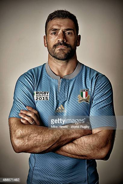 Andrea Masi of Italy poses for a portrait during the Italy Rugby World Cup 2015 squad photo call at the Radisson Blu Hotel on September 15 2015 in...