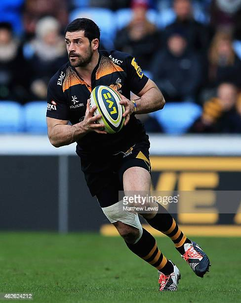 Andrea Masi of Wasps in action during the LV= Cup match between Wasps and Cardiff Blues at Ricoh Arena on February 1 2015 in Coventry England