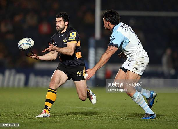 Andrea Masi of Wasps passes the ball during the Amlin Challenge Cup match between London Wasps and Bayonne at Adams Park on December 13 2012 in High...