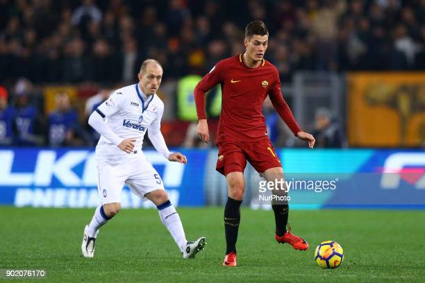 Andrea Masiello of Atalanta and Patrick Schick of Roma during the serie A match between AS Roma and Atalanta BC at Stadio Olimpico on January 6 2018...