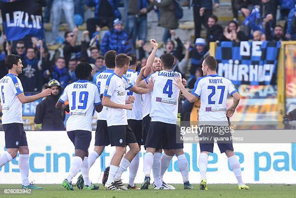 Andrea Masiello of Atalanta BC celebrate after scoring the opening goal during the Serie A match between Bologna FC and Atalanta BC at Stadio Renato...