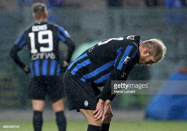 Andrea Masiello of Atalanta BC shows his dejection at the end of the Serie A match between Atalanta BC and FC Internazionale Milano at Stadio Atleti...