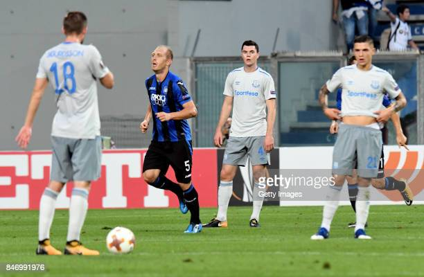Andrea Masiello of Atalanta celebrates the opening goal during the UEFA Europa League group E match between Atalanta and Everton FC at Stadio Citta...