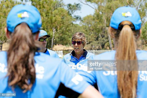 Andrea McCauley coach of the Strikers during the Women's Big Bash League match between the Adelaide Strikers and the Melbourne Stars at Lilac Hill on...