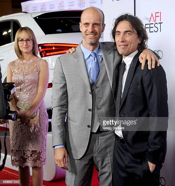 Andrea Meszaros Ponti Edoardo Ponti and Carlo Ponti Jr arrive at the AFI FEST 2014 Presented By Audi A Special Tribute To Sophia Loren at Dolby...