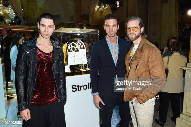 Andrea Mianulli Tommaso Cataldi and Simone D'Angelo attend Stroili Holy Gold Party on October 17 2018 in Milan Italy