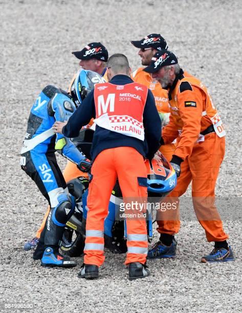 Andrea Migno Italien KTM nach seinem Sturz waehrend der Qualifikation der Moto3 auf dem Sachsenring in HohensteinErnstthal Deutschland Deutschland...