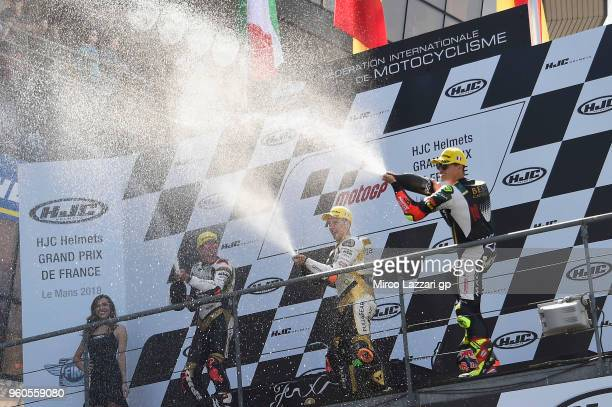 Andrea Migno of Italy and Angel Nieto Team Moto3 Albert Arenas of Spain and Angel Nieto Team Moto3 and Marcos Ramirez of Spain and Bester Capital...