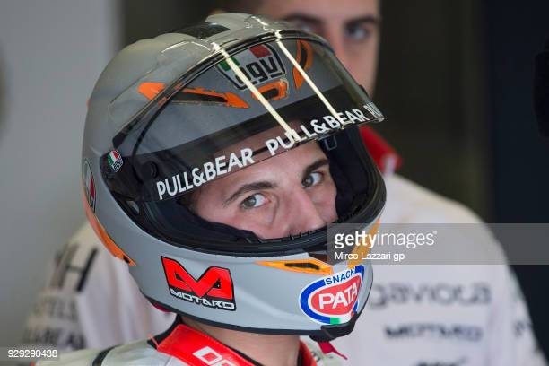 Andrea Migno of Italy and Angel Nieto Team Moto3 KTM looks on in box during the Moto2 Moto3 Tests In Jerez at Circuito de Jerez on March 8 2018 in...